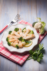 swordfish with broccoli and cauliflower salad