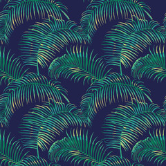Tropical Leaves Background - Vintage Seamless Pattern