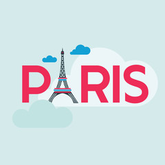 Paris Card - Illustration with Eiffel Tower - in vector
