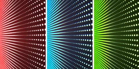 Three different color LED walls
