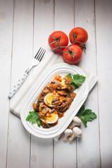 boiled eggs with mushroom