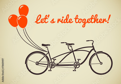 Tandem bicycle with balloons - 78601497