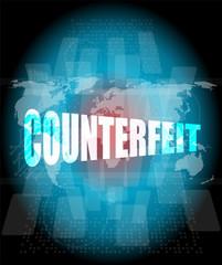 word counterfeit on digital screen