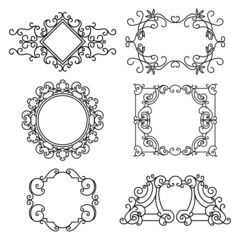 Vector set of floral  linear frames