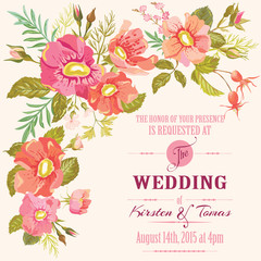 Wedding Floral Invitation Card - Save the Date - in vector