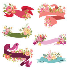 Floral Ribbon Banners - for wedding cards, scrapbook and design