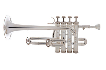 Silver trumpet over white background