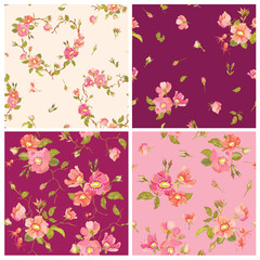 Set of Roses Background - Seamless Floral Shabby Chic Pattern