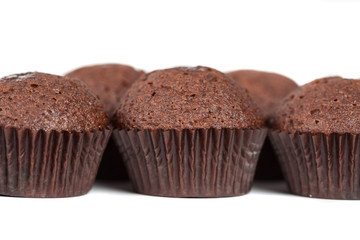 chocolate cupcakes muffins on white
