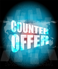 counter offer words on digital screen background with world map