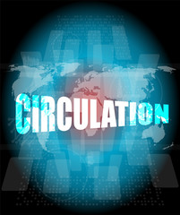 circulation word on digital touch screen