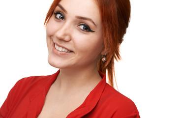 Redhead  girl smiles sweetly