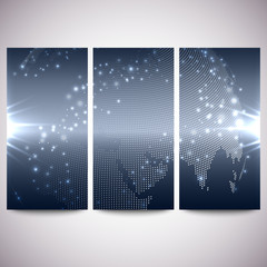 Abstract flash banners set, dark design vector illustration