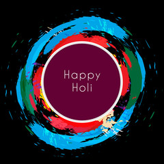 happy holi around colorful splashes