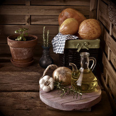 Olive oil in a old country kitchen