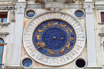 Detail of the Clock Tower in Venice, Italy.