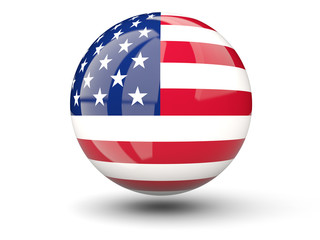 Round icon of flag of united states of america