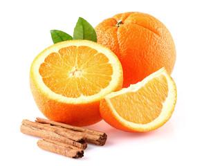 Orange fruit with cinnamon