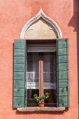 Detail of a window in Venice, Italy