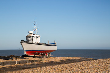 A fishing boat on the beach in Deal, Kent, UK