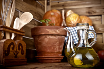 Olive oil flavored with garlic