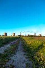 Rural landscape with factory