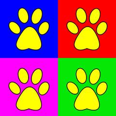 Набор векторных знаков с изображением следа животного