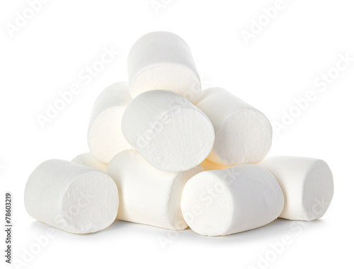 Poster Snoepjes Marshmallow isolated on white background