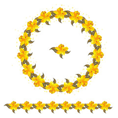cte yellow flowers vector circle ornament