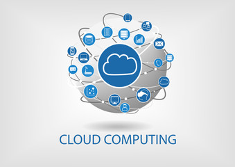 Cloud computing visualized by connected devices and globe
