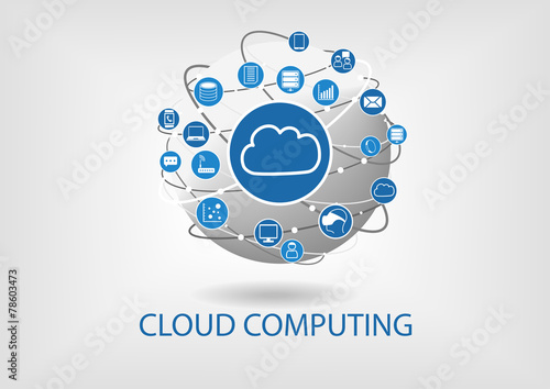 Cloud computing visualized by connected devices and globe - 78603473