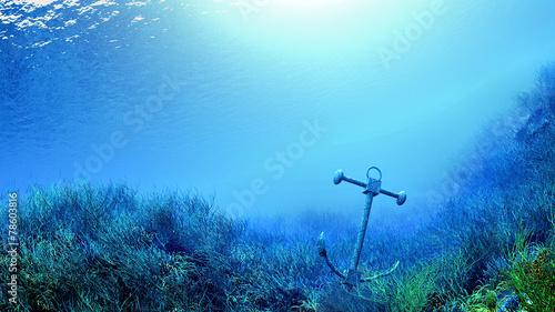 Leinwanddruck Bild sous la mer ancre