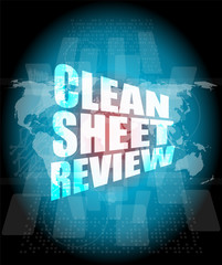 clean sheet review on touch screen, media communication