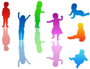 Illustration of kids silhouettes