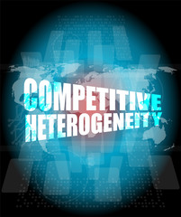competitive heterogeneity word on business digital touch screen