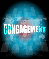Management concept: congagement words on digital screen