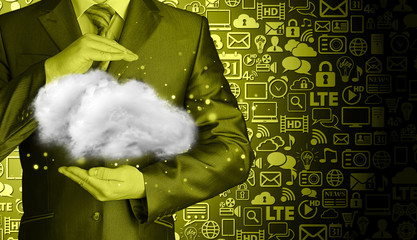 Cloud computing concept, close up of young businessman