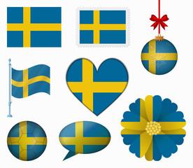 Sweden flag set of 8 items vector