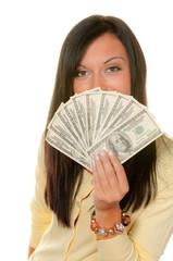 Frau mit Dollar Geldscheinen