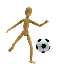 Wooden toy with soccer ball