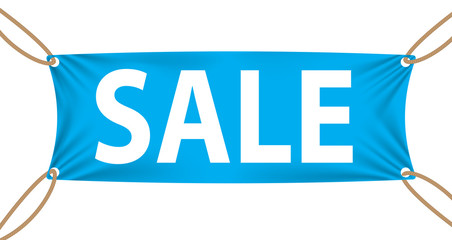 Textile banners with Sale Text Suspended by Ropes by all Four Co