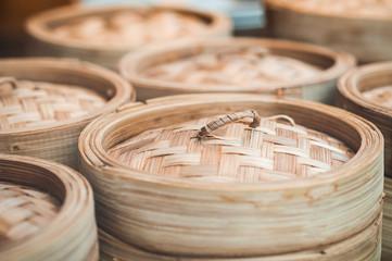 Dim sum bamboo basket