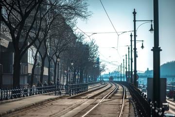 Tram track in Budapest