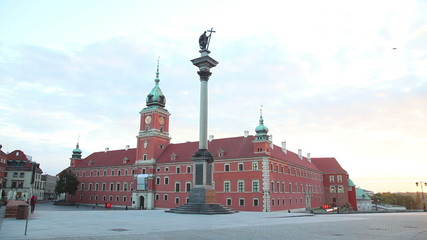 Castle square panorama in Warsaw, Poland early in the morning