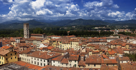 Tuscany, Italy: aerial view of Lucca medieval city