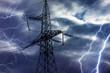 Leinwanddruck Bild - High voltage tower and lightning