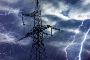 High voltage tower and lightning