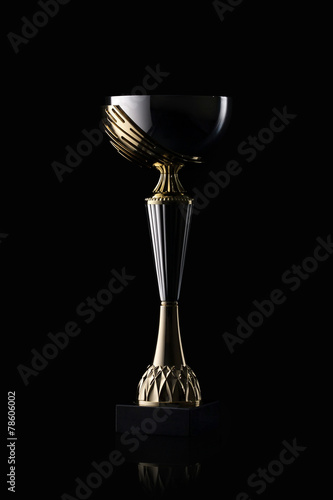 Cup. Golden cup of the winner on black background - 78606002