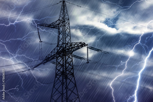 High voltage tower and lightning - 78606051