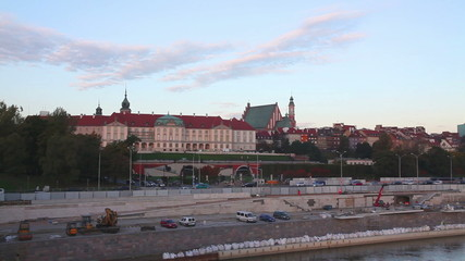Cityscape of Warsaw, Poland in the morning